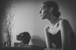 portret kobiety z kotem