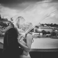 Para Młoda całuje się pod welonem na moście karola w Pradze